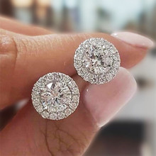 Modyle Classic Round Cubic Zirconia Prong Setting Women's Stud Earring 6 Color Delicate Wedding Engagement Evening Party Jewelry