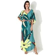 2020 التجفيف السريع البوهيمي مطبوعة الصيف ملابس للنساء أغطية قفطان طويل شاطئ فستان تونك قطن ملابس سباحة حريمي التستر Q935