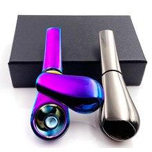 Colher de fumar tubo portátil criativo erva cigarro cigarro ignescente tubos de metal para fumar caixa de presente