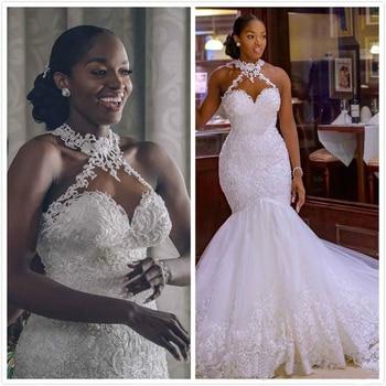 2020 Arabic Aso Ebi Vintage Lace Beaded Wedding Dresses Sheer Neck Mermaid Bridal Dresses Sexy Cheap Wedding Gowns