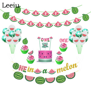 Image 1 - Leeiu Fruit Theme Watermelon Party Decoration Birthday Banners Watermelon Cake Toppers Baby Shower 1st Birthday Party Supplies