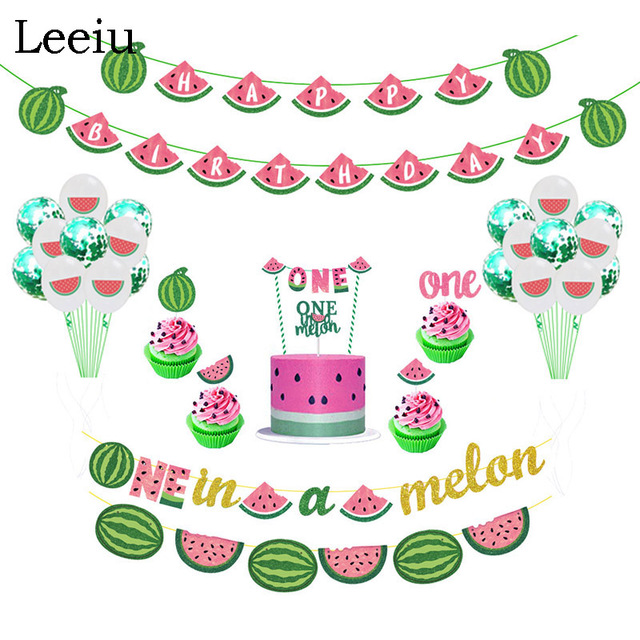 Leeiu Fruit Theme Watermelon Party Decoration Birthday Banners Watermelon Cake Toppers Baby Shower 1st Birthday Party Supplies