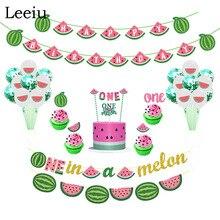 Leeiu נושא פירות אבטיח מסיבת קישוט יום הולדת באנרים אבטיח עוגת Toppers תינוק מקלחת 1st יום הולדת ספקי צד