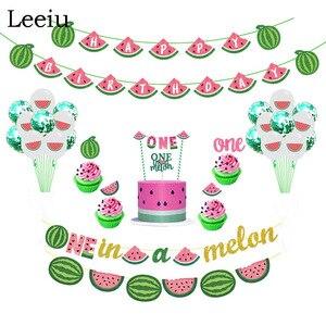 Image 1 - Leeiu owoce motyw arbuz Party dekoracji najlepszego z okazji urodzin banery arbuz ciasto wykaszarki Baby Shower 1st Birthday Party Supplies