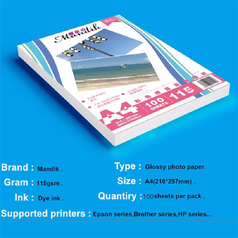 A4 Color Inkjet High-gloss Photo Paper Photo Paper 115g Crystal Photo Printing Paper A4 Photo Paper Photo Paper 100pcs / Package