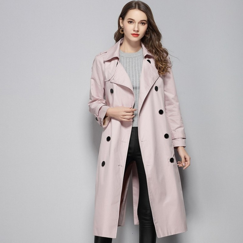 2020 New Autumn Ladies Slim Fit Trench Coats Fashion Solid Lapel Collar Long Windbreaker Double Breasted Belt Outerwear Female