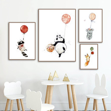 Balloon Flower Fox Panda Koala Raccoon Cartoon Animal Nordic Posters And Prints Wall Art Canvas Painting Pictures Kids Room