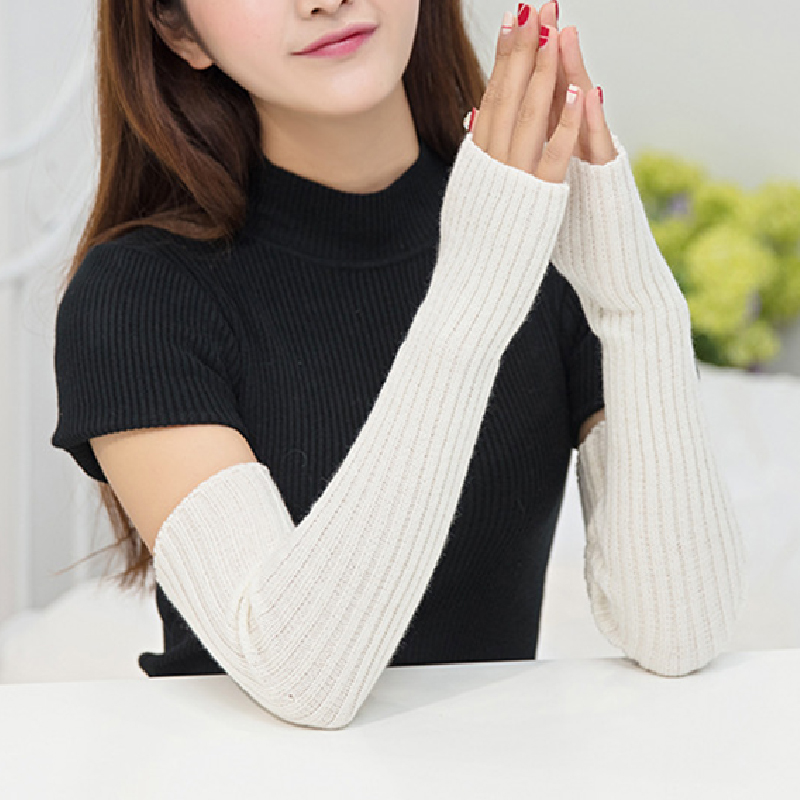 Winter 50cm Women's Knitted Wool Arm Warmers Knitted Woolen Arm Sleeve Solid Fine Long Knitted Fingerless Gloves Wholesale