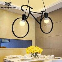 크리 에이 티브 철 자전거 샹들리에 조명 현대 Led 샹들리에 어린이 방 매달려 램프 카페 바 장식 매달려 조명