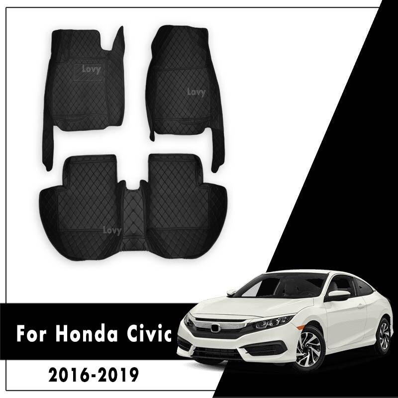 LHD Auto Tappetini Per Honda CIVIC 10th Berlina 2016 2017 2018 2019 Car Interior Accessorie Tappeti In Pelle Dash Impermeabile tappeti