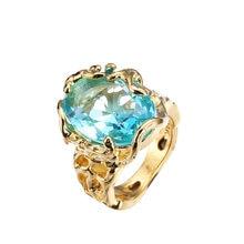 14K żółte złoto Bule Sapphire Topaz biżuteria pierścionek Valentine prezent pierścionki dla kobiet Bague pierścionek z szafirem kamień biżuteria Bizuteria