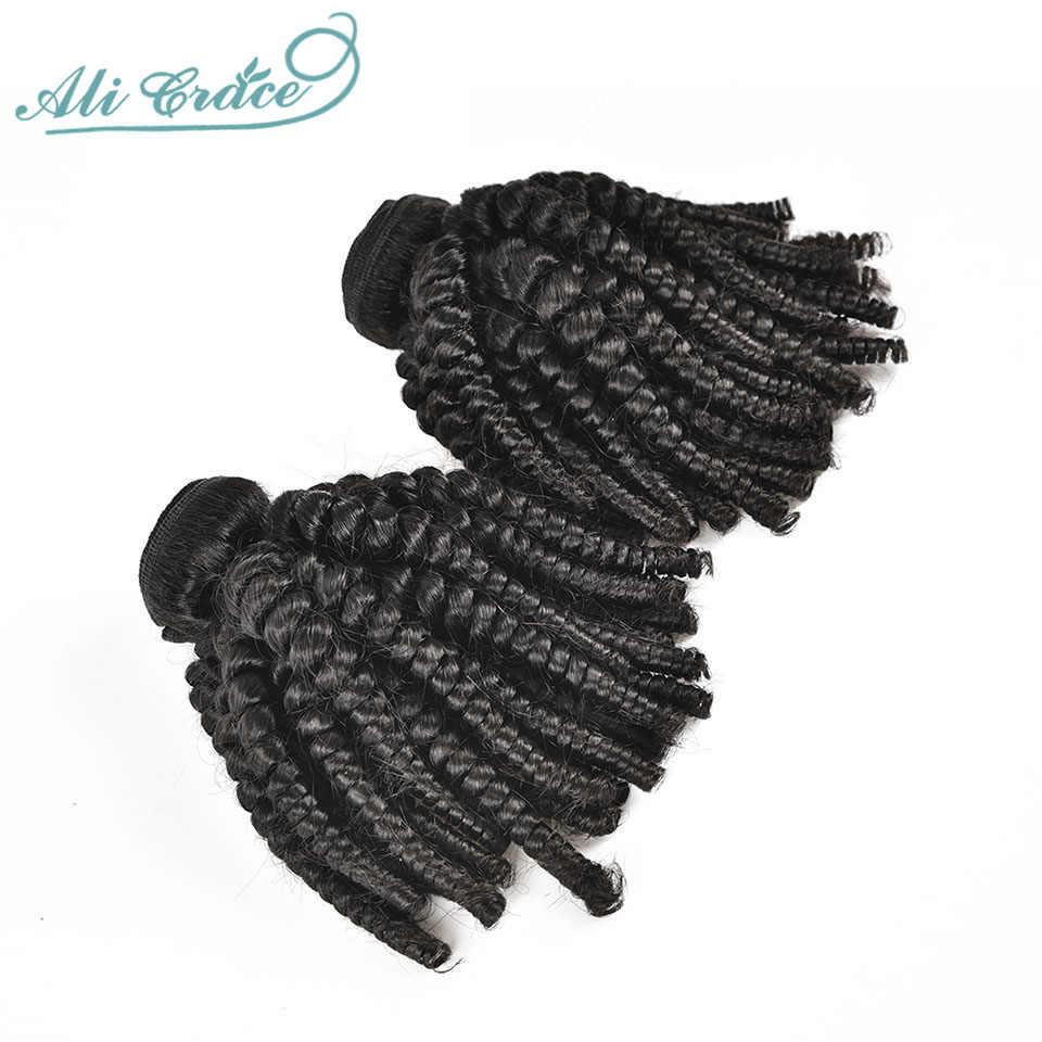 Ali Grace Bouncy Krullend Haar Bundels 1/3/4 Stuks Braziliaanse Remy Human Hair Weave Extensions Krullend Haar weave Bundels Natuurlijke Kleur