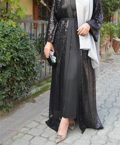 Open Abaya Muslim Women Long Kimono Sequnis Charm Party Evening Cardigan Robe Middle East Islamic Ramadan Arab Kaftan Fashion