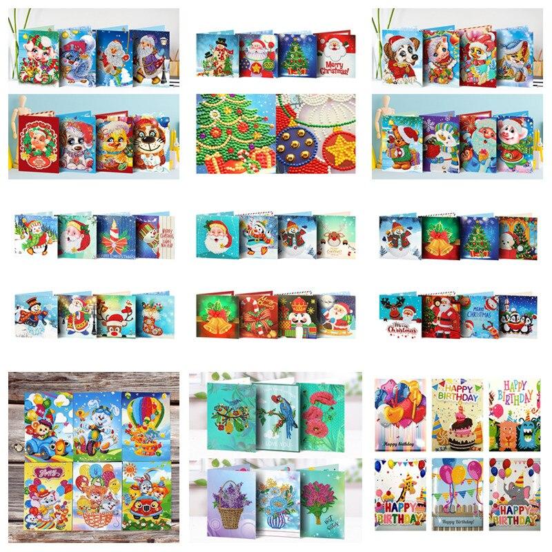 5D DIY Diamond Mosaic Greeting Card Christmas Birthday Halloween Diamond Painting Kit Embroidery Holiday Gift