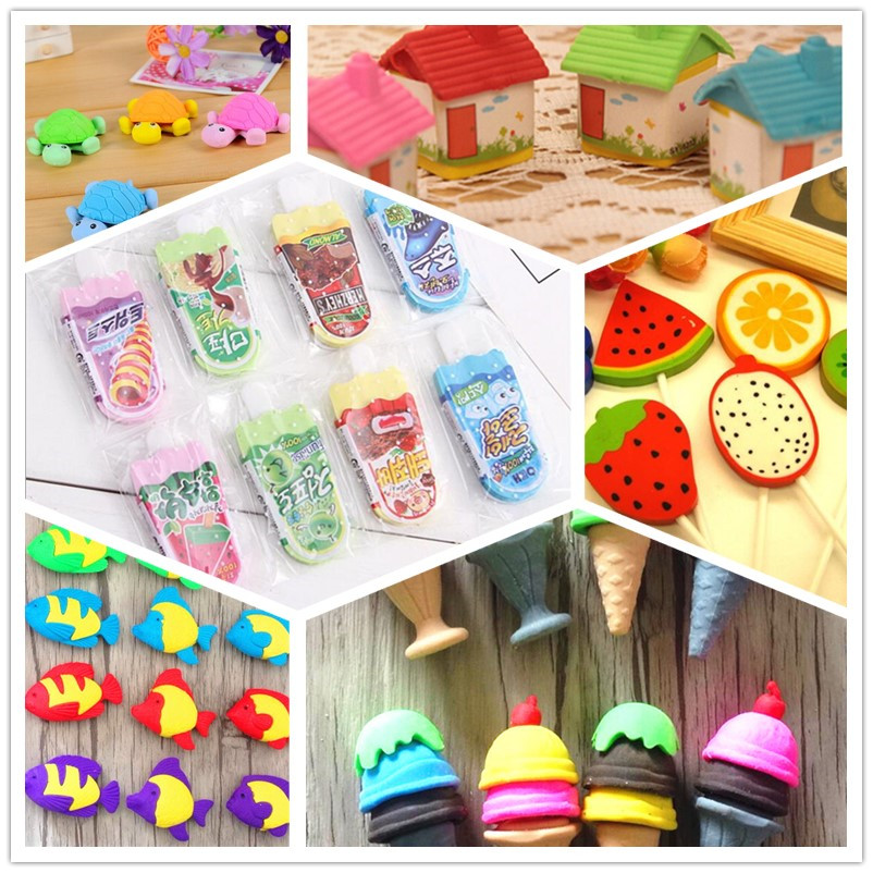 36pcs/lot Cute Colorful Cartoon Diverse Children Pencil Erasers Rubber Eraser For Kids School Office Supplies Kids Gift