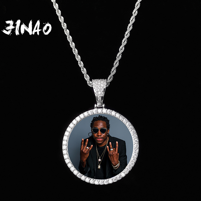 JINAO NEW Custom Ice out Large size Photo Round Necklace & Pendant With 4mmTennis Chain AAA Cubic Zircon Hip hop Jewelry