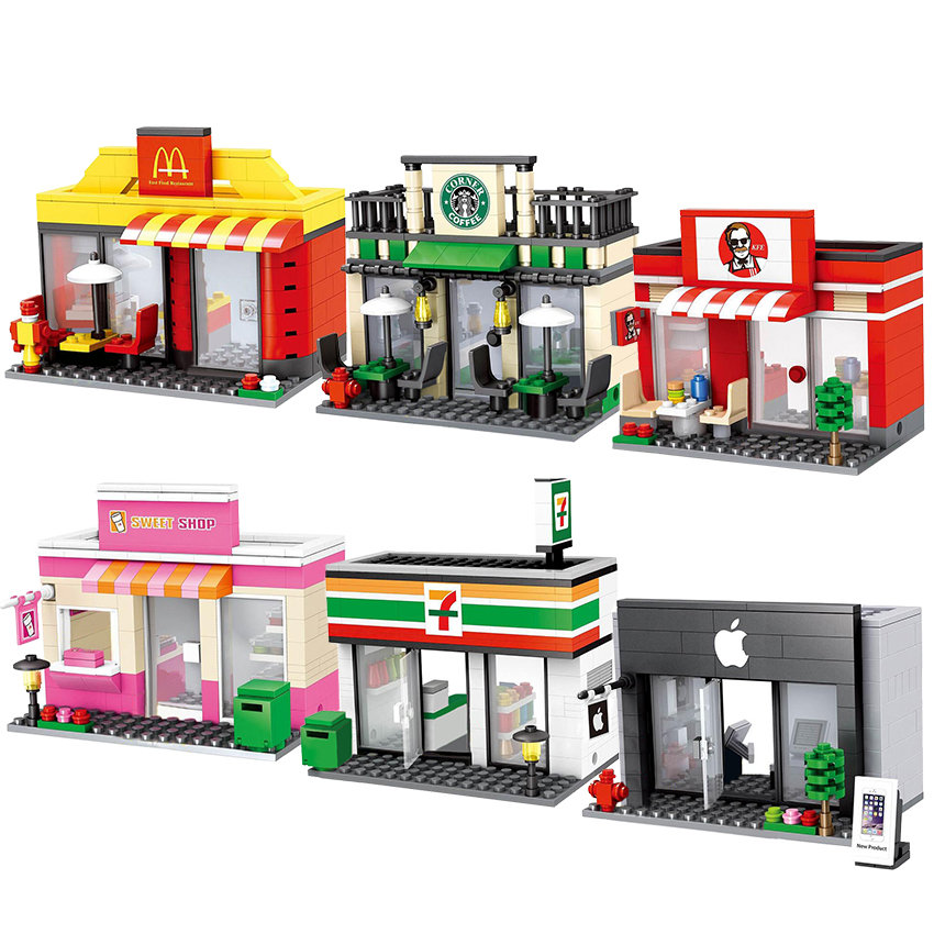 City Mini Street Retail Store Dickens Ville Shop Miniature Building Block Cafe McDonald Model Leduo Brand Tiendas Toy