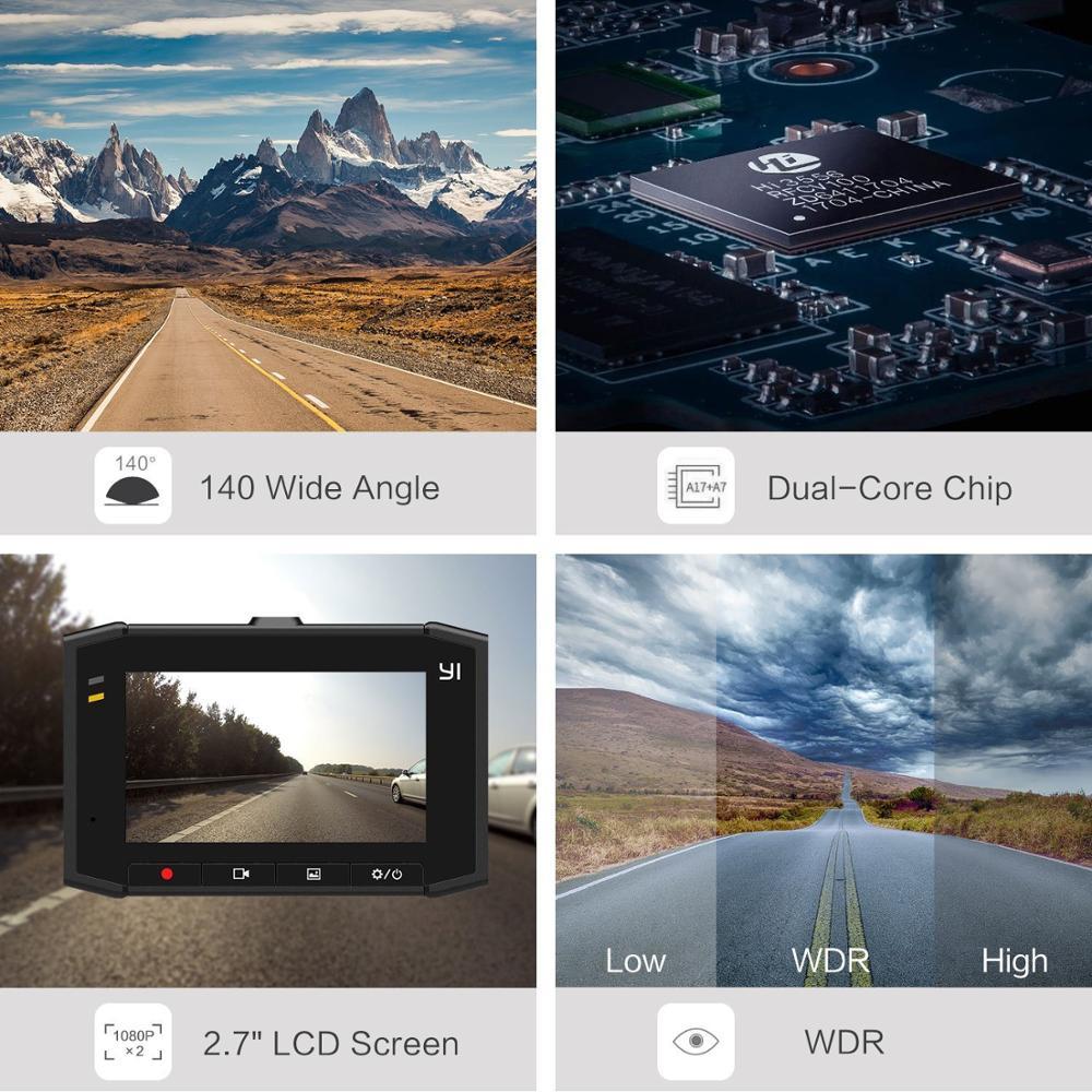 Yi ultra dash câmera com 16g cartão 2.7 k resolução a17 a7 chip de núcleo duplo controle de voz sensor de luz de 2.7 polegadas widescreen - 4