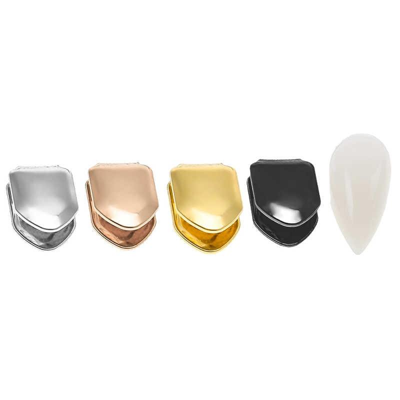 Berlapis Emas Hip Hop Gigi Gangsta Caps Atas atau Bawah Grill Palsu Gigi Berlapis Emas Gigi Tunggal Kecil Topi