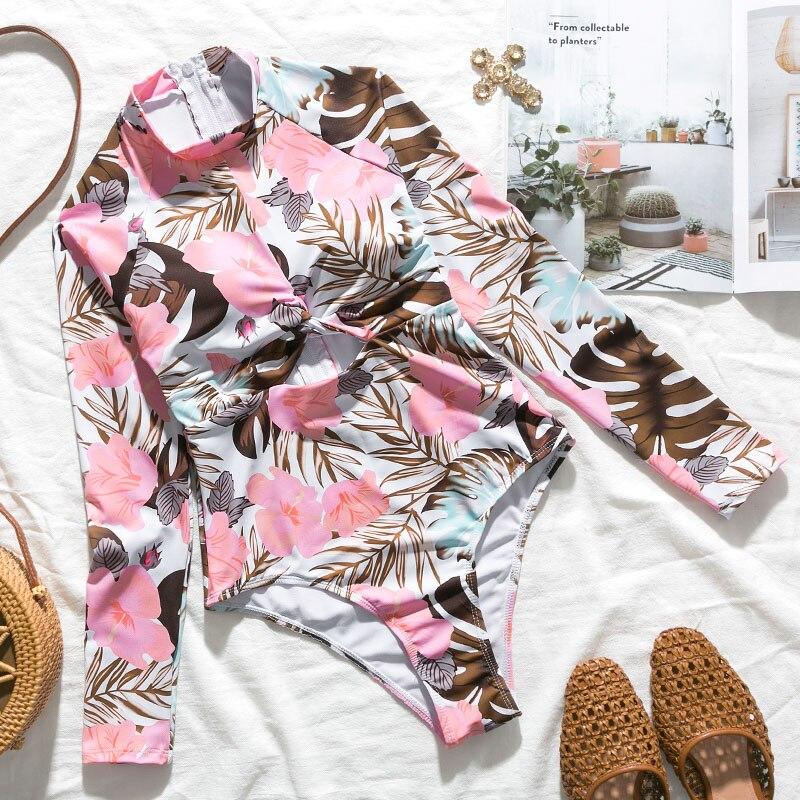 Лето, женский купальник с принтом листьев, длинный рукав, сексуальное бикини, бразильский Цельный боди, пуш-ап, купальник для женщин, монокини - Цвет: 2513-1