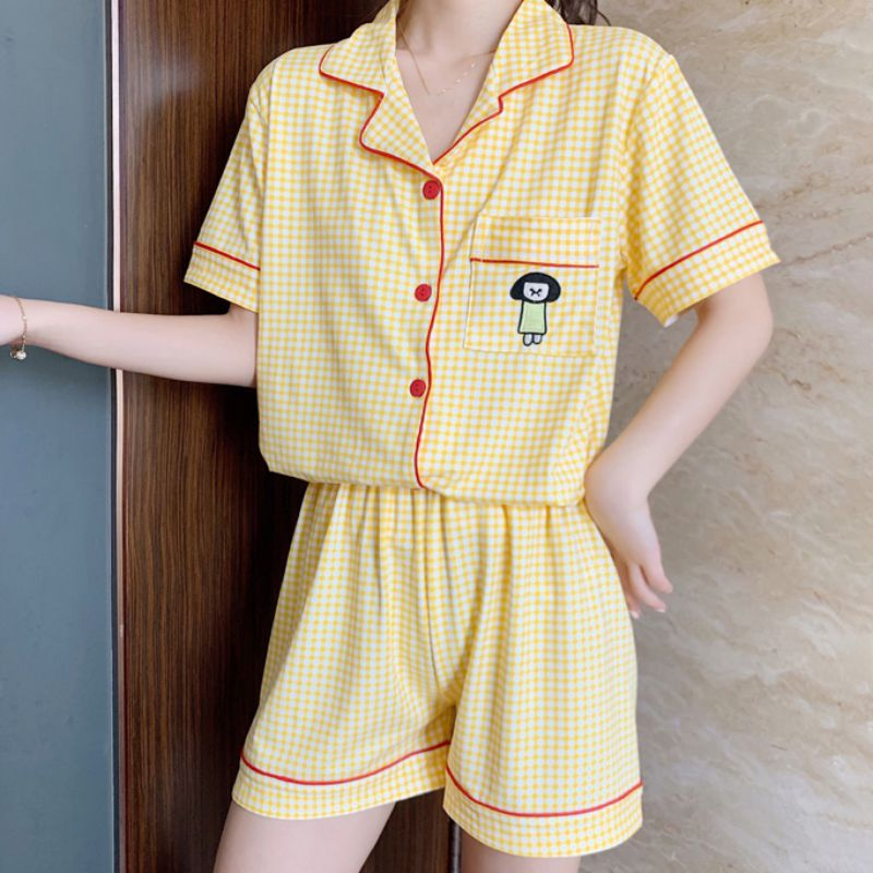 Summer Fashion Short-sleeved Pajamas Suit Thin Plaid Nightwear Loose Ladies Sweet Cute Pajamas