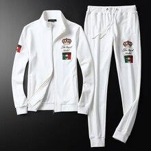 Высококачественный брендовый Повседневный Спортивный костюм осень и зима мужской костюм свитер с вышивкой+ штаны M-5XL