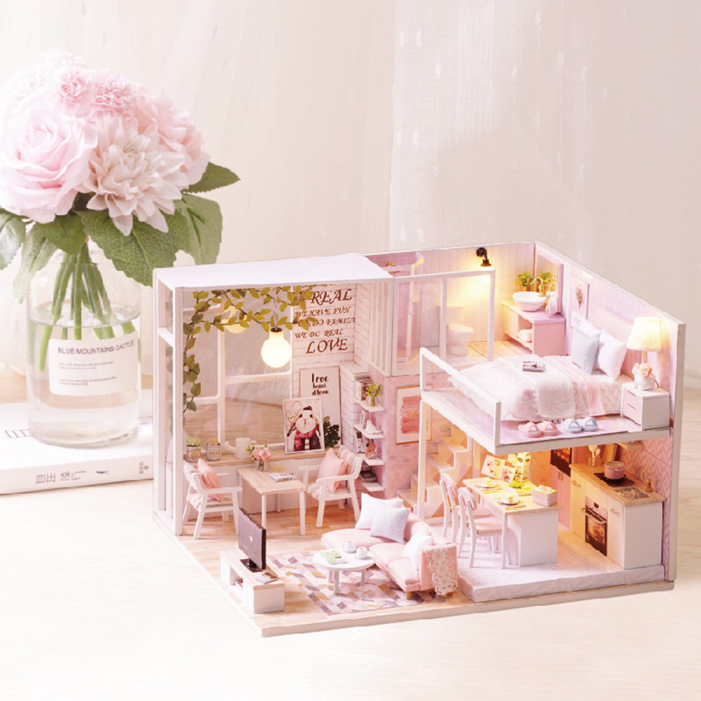 Kit Gift Wooden Furniture Assembling Toy Christmas Miniature Villa Battery Powered LED Light Children Apartment DIY Doll House