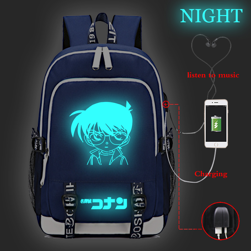 Japanese Cartoon Detective Conan Backpack Teenagers Student Schoolbags Children Luminous Travel Backpack USB Charging Backpack