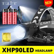 200000 lumenów nowy reflektor XHP90 LED reflektor wędkarski Ultra mocna lampa kempingowa lampa czołowa Zoomable USB latarka 18650 światło tanie tanio TRLIFE Wysoka średnim niskie BL558 BL448 BL454 XHP90 XHP70 2 XPL-V6 Reflektory 60 ° ROHS Camping Fishing Hiking Climbing
