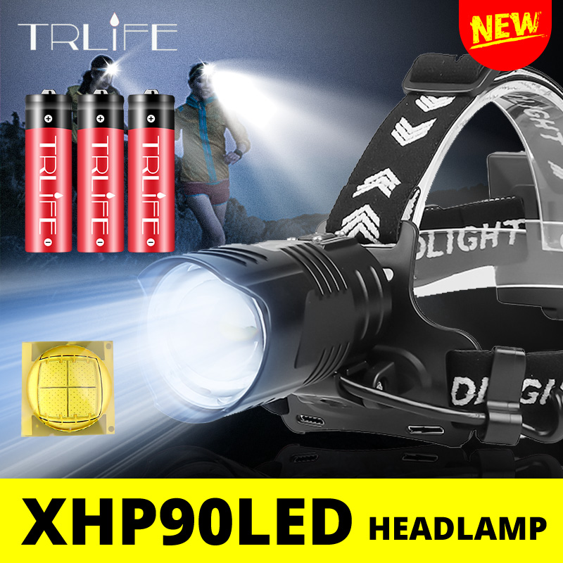 2020 NEW Ultra Bright XHP90 Headlamp LED Fishing Headlight Brightest Camping Lantern Light Zoomable USB 18650 Light XHP70 XHP50
