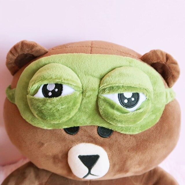 Kids Sleep Mask Cute Sleeping Eye Mask Plush Eye Cover Sleeping Mask 3D Frog Green Eye Band Rest Eyepatch Eye Blindfold 4