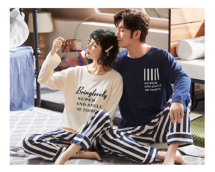Autumn Couple Pajamas 2019 Men Pyjamas Suit Long Sleeve Pijama For Male Plus Size Sleep Clothing Cotton Casual Nightie Sleepwear