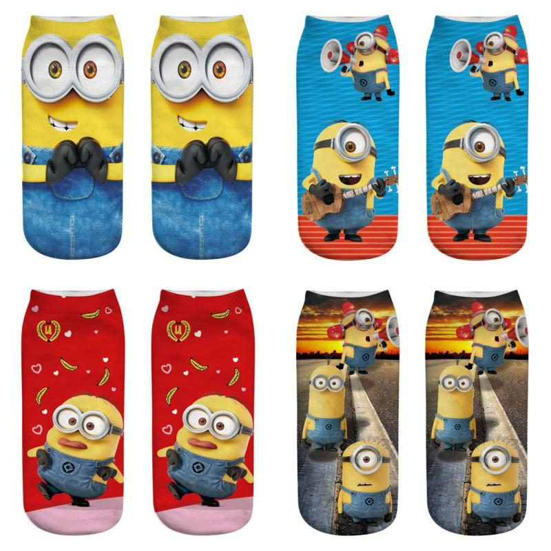 2019 New Women Man Cartoon Minions Funny Socks Colorful Boy Girl  Ankle Socks Cute Popsocket Japanese Korean Socks Streetwear