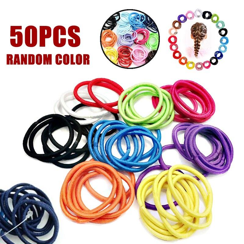 50pcs/lot High Elastic Rubber Band Hair Ring Hair Accessories Rubber Bands Scrunchy Elastic Hair Bands Headband Random Color