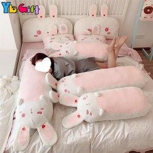 Милые Kawaii игрушечные кролики, розовые мягкие животные, чучело кролика, постельное белье, подушки, длинные ушки, кролик, кукла, девушки, подар...