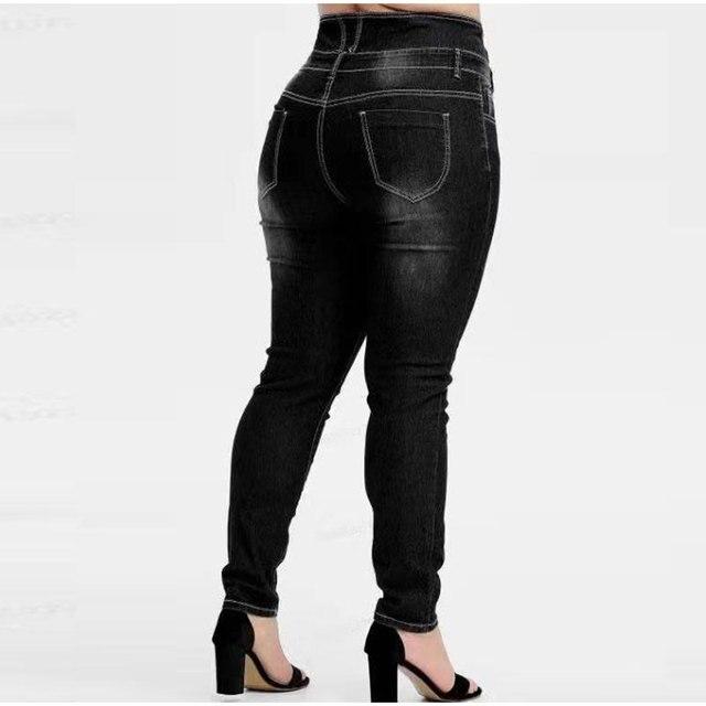 Pantalones vaqueros de talla grande abotonada para mujer, Vaqueros largos ajustados en negro y gris, de cintura alta, 4XL, 5XL, para primavera 4