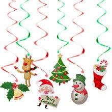 6pcs Christmas Foil Spiral Pendant Ceiling Hanging Garlands Santa Elk Bell Swirl Banner for Xmas Party Home Living Room Decor