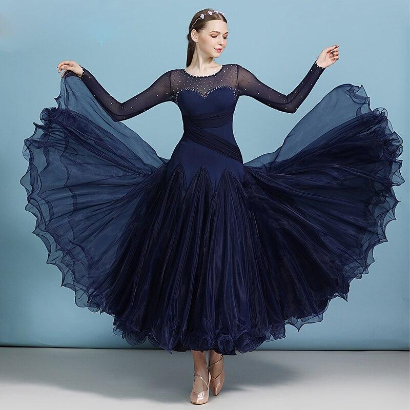 Ballroom Dresses For Dance Clothing  Women Sexy Mesh Long Sleeve Rhinestone Waltz Tango Performance Dance Wear Dress DWY2955
