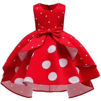 Baby Girls Christmas Flower Striped Dress For Girls Wedding Party Dresses Toddler Kids Brithday Dot Dress Children Clothing 1
