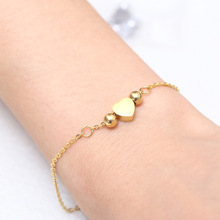 Charm Bracelets Bangle Woman Accessories Stainless Steel Jewelry Fashion Bead Chain Link Hand Wrist Friendship Heart Bracelet