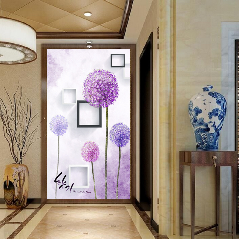 Large Mural Entrance TV Background Wallpaper Mural Nonwoven Fabric 3D Wallpaper Bedroom Minimalist Modern Verticle