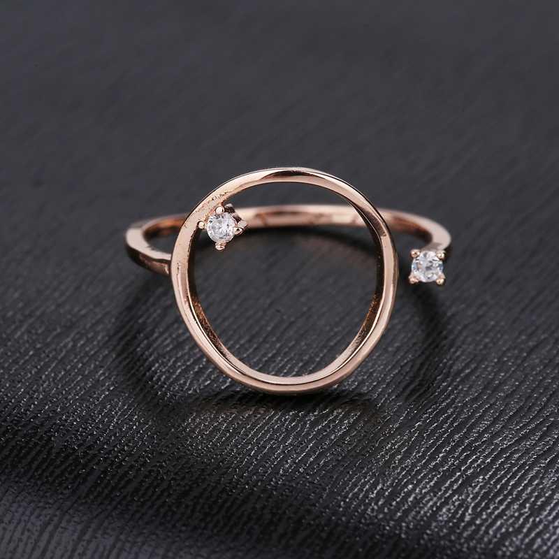 MIGGA personnalité Design grand anneau géométrique couleur or Rose cubique Zircon anneau pour femmes filles fête