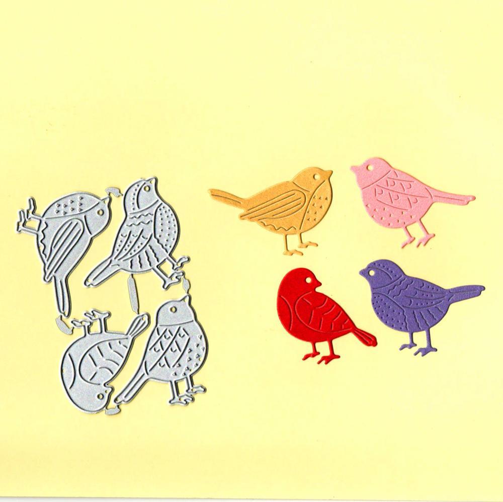 4Pcs/lot Little Bird Scrapbook Metal Dies Stencil Template For DIY Embossing Photo Paper Album Greeting Card Gift Decor Dies Cut