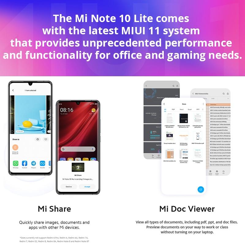 Globale Versione Xiaomi Mi Nota 10 Lite 6GB 64GB Snapdragon 730G NFC G-pay 64MP Quad telefoni 5260mAh Mobile della macchina fotografica 30W smartphone 5