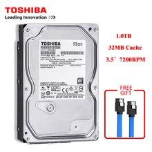 도시바 브랜드 1000GB 데스크탑 컴퓨터 3.5 인치 내장 하드 디스크 SATA2/SATA3 6 기가바이트/초 하드 디스크 1 테라바이트 HDD 7200RPM 32MB 버퍼