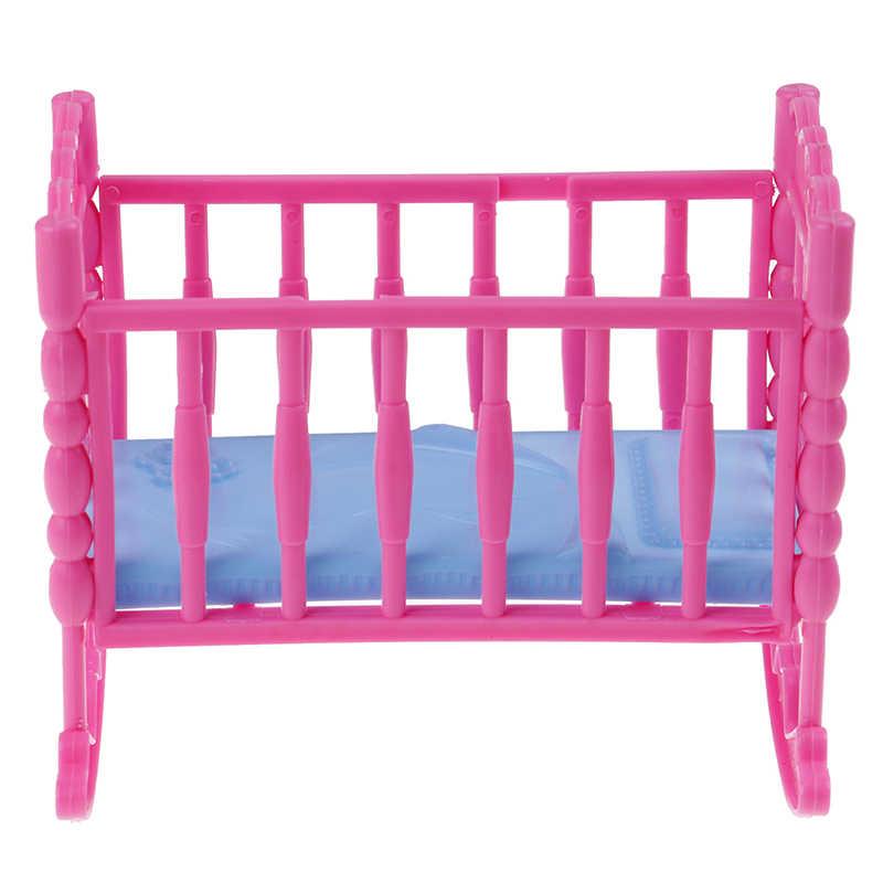Mini casa de muñecas, juguete para niños, muñeca encantadora, muebles para cuna de balancín, cama para muñeca, accesorios de muñeca para niños de 12,5x9x10,5 cm