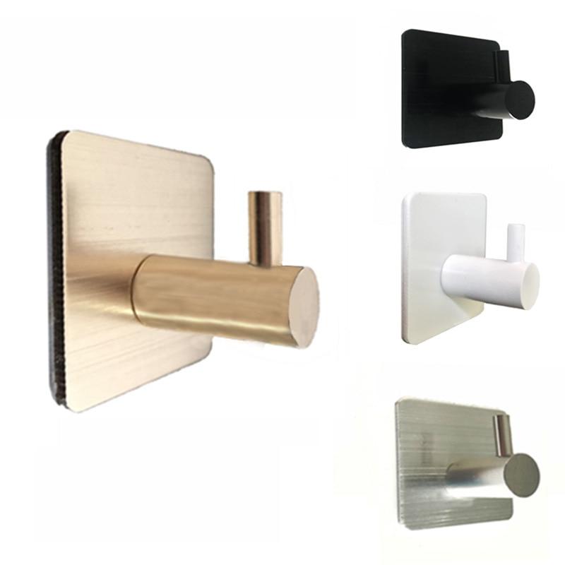 Auto adesivo casa cozinha porta de parede gancho titular chave rack toalha cabide banheiro rack ganchos alumínio