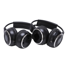 2 x auriculares inalámbricos estéreo con doble infrarrojo, auriculares con reposacabezas negro para reproductor de DVD de coche IR