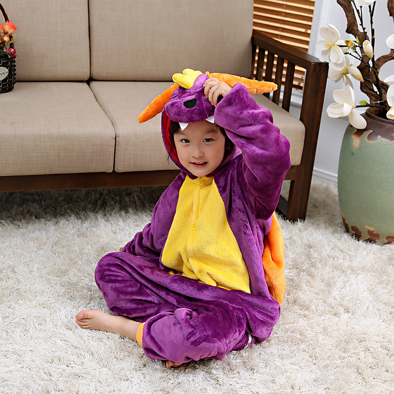 Autumn & Winter-Purple Dragon CHILDREN'S Cartoon Animal One-piece Pajama Parent And Child Toilet Edition Long Sleeve Animal Home