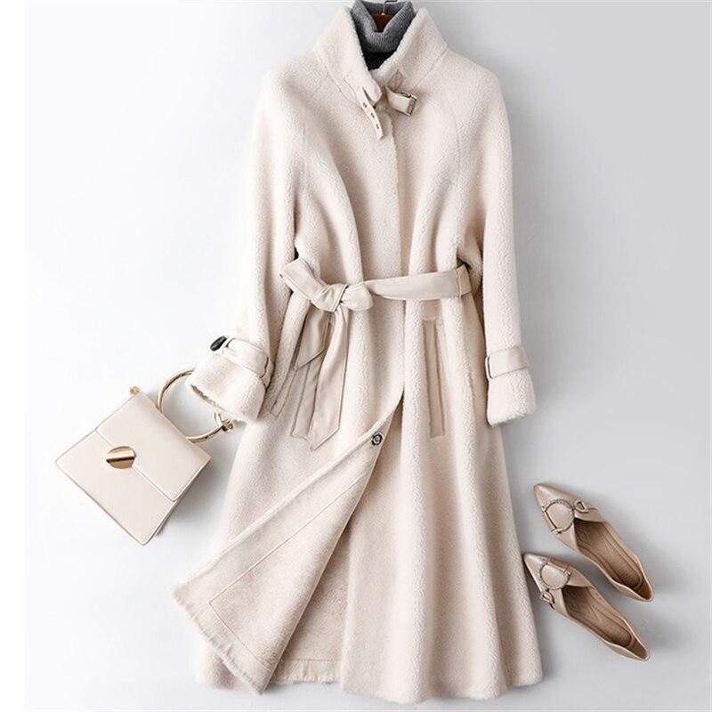 2019 Autumn Winter Women Granule Sheep Shearing Long Fur Coat  New High Quality Fur Jacket Korean Fashion Overcoat Women Tide